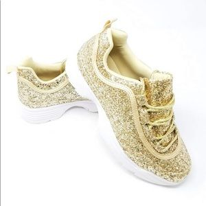 Liliana Glittery Fashion Sneakers in Gold - Used